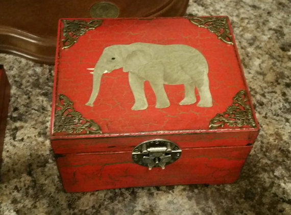 Distressed Red Wood Box with Elephant