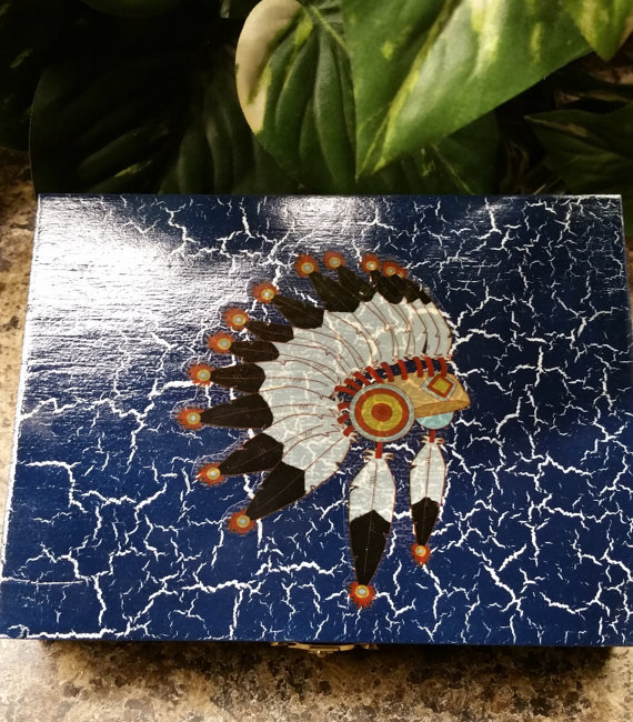 Navy Blue Distressed Essential Oil Box with Indian Headdress